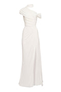 Asymmetric Draped Jersey Gown (Made to Order)