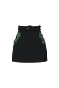 Wool Mini Skirt with Belt and Embroidery