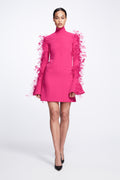 Crepe Mini Dress with Waved Seams and Feathered Sleeve