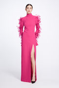 Crepe Gown with Waved Seams and Feathered Sleeve