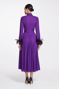 Georgette Pleated Shirt Dress with Feathered Cuffs, Amethyst Button, and Belt
