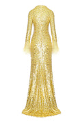 Crew Neck Embroidered Gown with Feathered Cuff (Pre-Order)