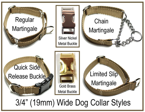 "3/4"" (19mm) wide nylon dog collar styles"