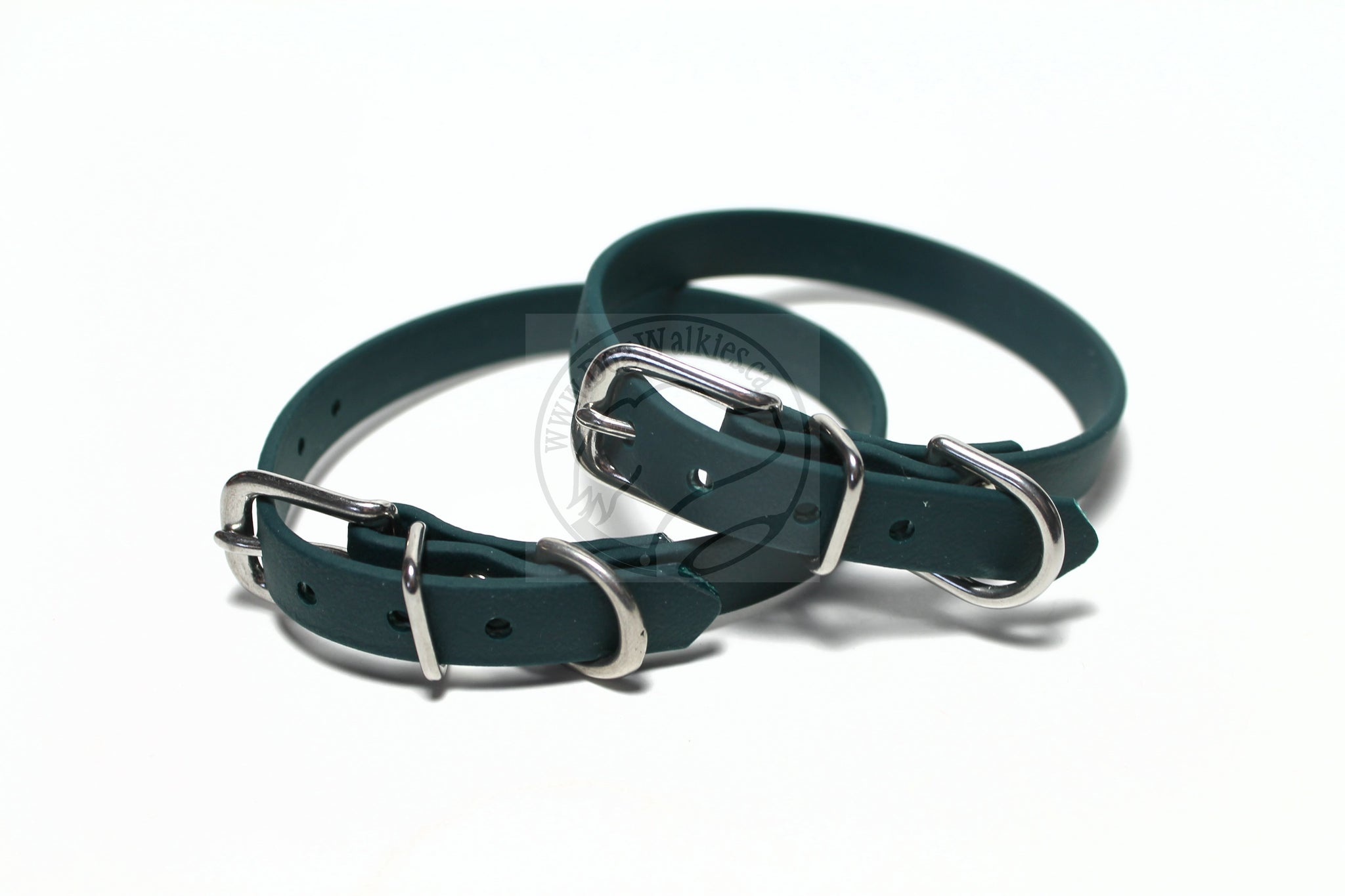 "Pine Green Biothane Small Dog Collar - 1/2"" (12mm) wide"