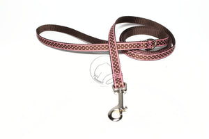 Thin Nylon Dog Leash - Pink and Brown Dots