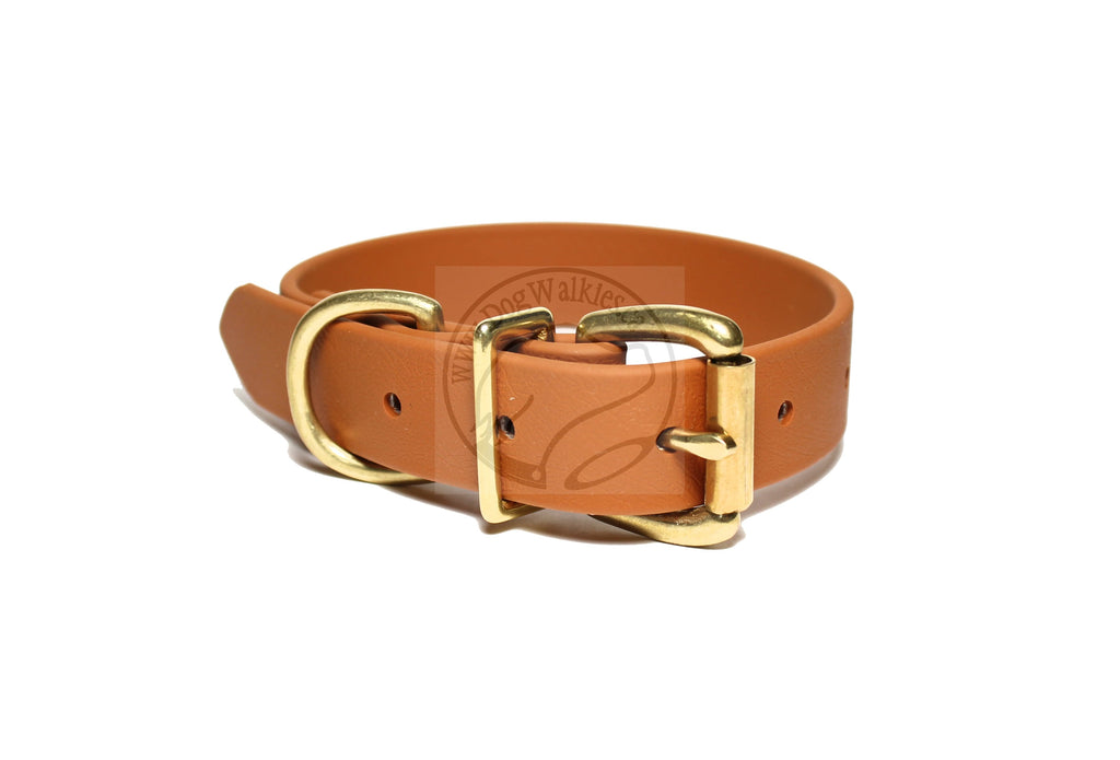 Caramel Brown Biothane Dog Collar - 1 inch (25mm) wide