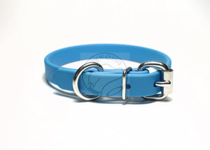 "Caribbean Blue Biothane Dog Collar - 5/8""(16mm) wide"