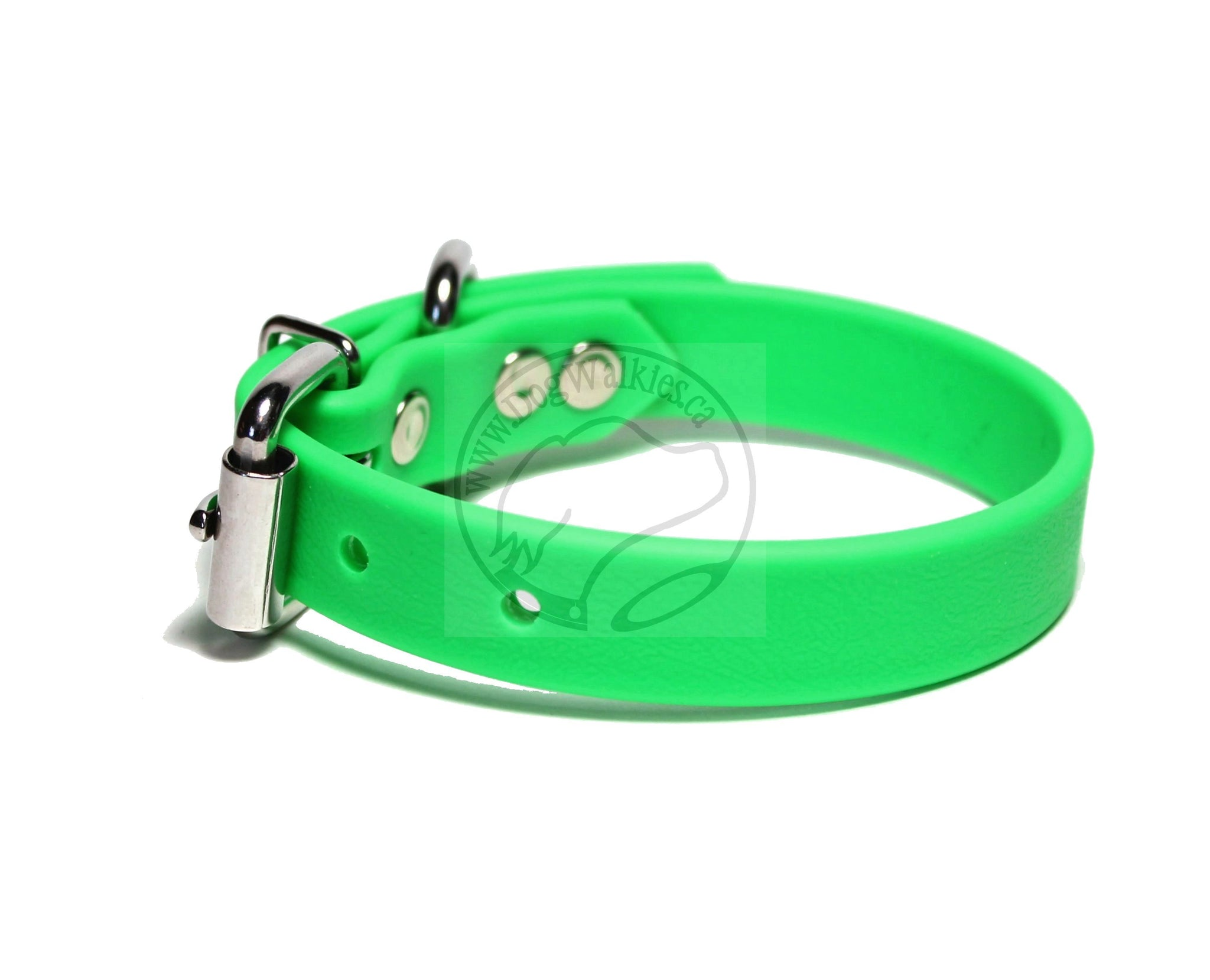 "Neon Apple Green Biothane Dog Collar - 3/4"" (19mm) wide"