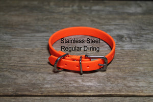 "Neon Blaze Orange Biothane Small Dog Collar - 1/2"" (12mm) wide"