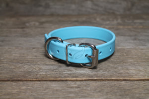 "*NEW* Frozen Blue Biothane Dog Collar - 3/4"" (19mm) wide"