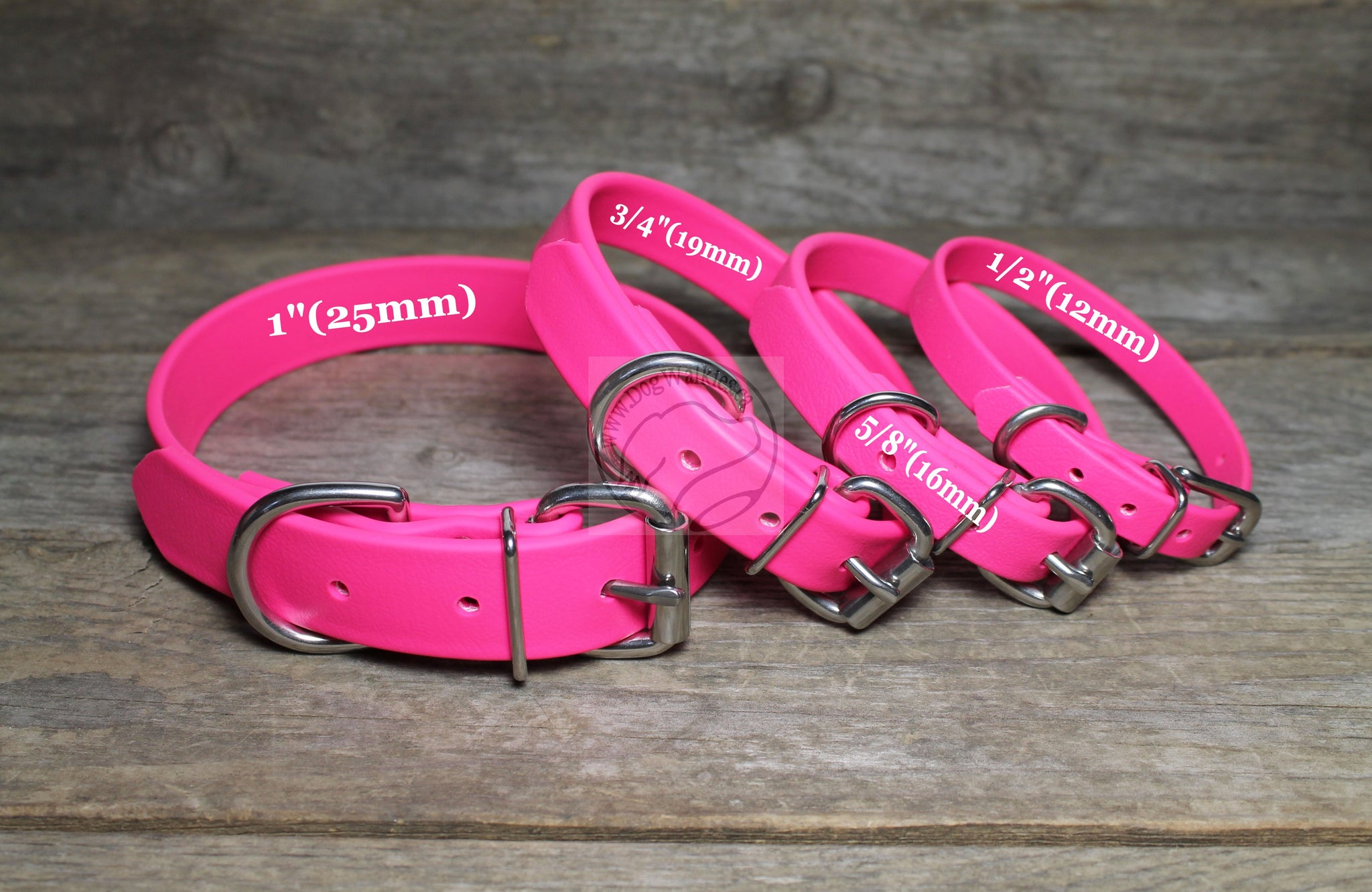 "Fuchsia Pink Biothane Dog Collar - 3/4"" (19mm) wide"