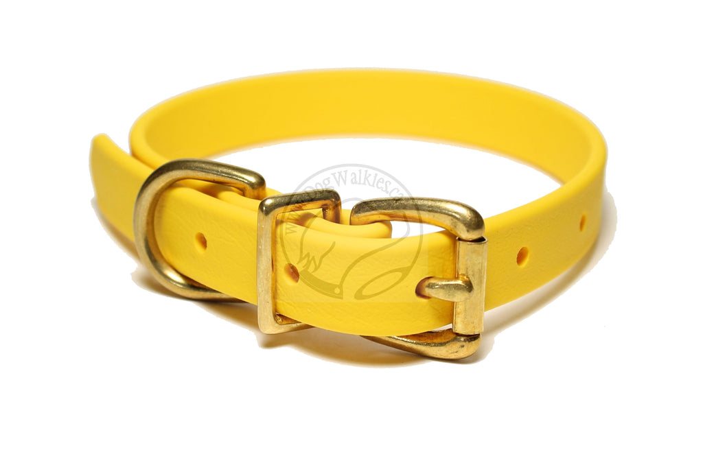 "Sunflower Yellow Biothane Dog Collar - 3/4"" (19mm) wide"