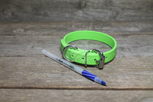 "Lime Green Biothane Dog Collar - 3/4"" (19mm) wide"