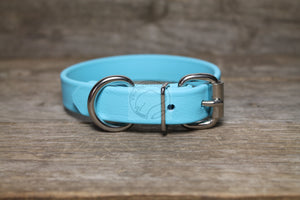 "Frozen Blue Biothane Dog Collar - 3/4"" (19mm) wide"