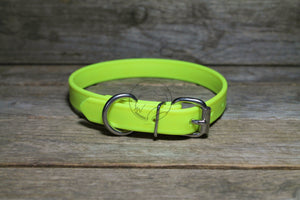 "Neon Yellow Biothane Dog Collar - 3/4"" (19mm) wide"