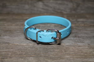 "Frozen Blue Biothane Dog Collar - 5/8""(16mm) wide"