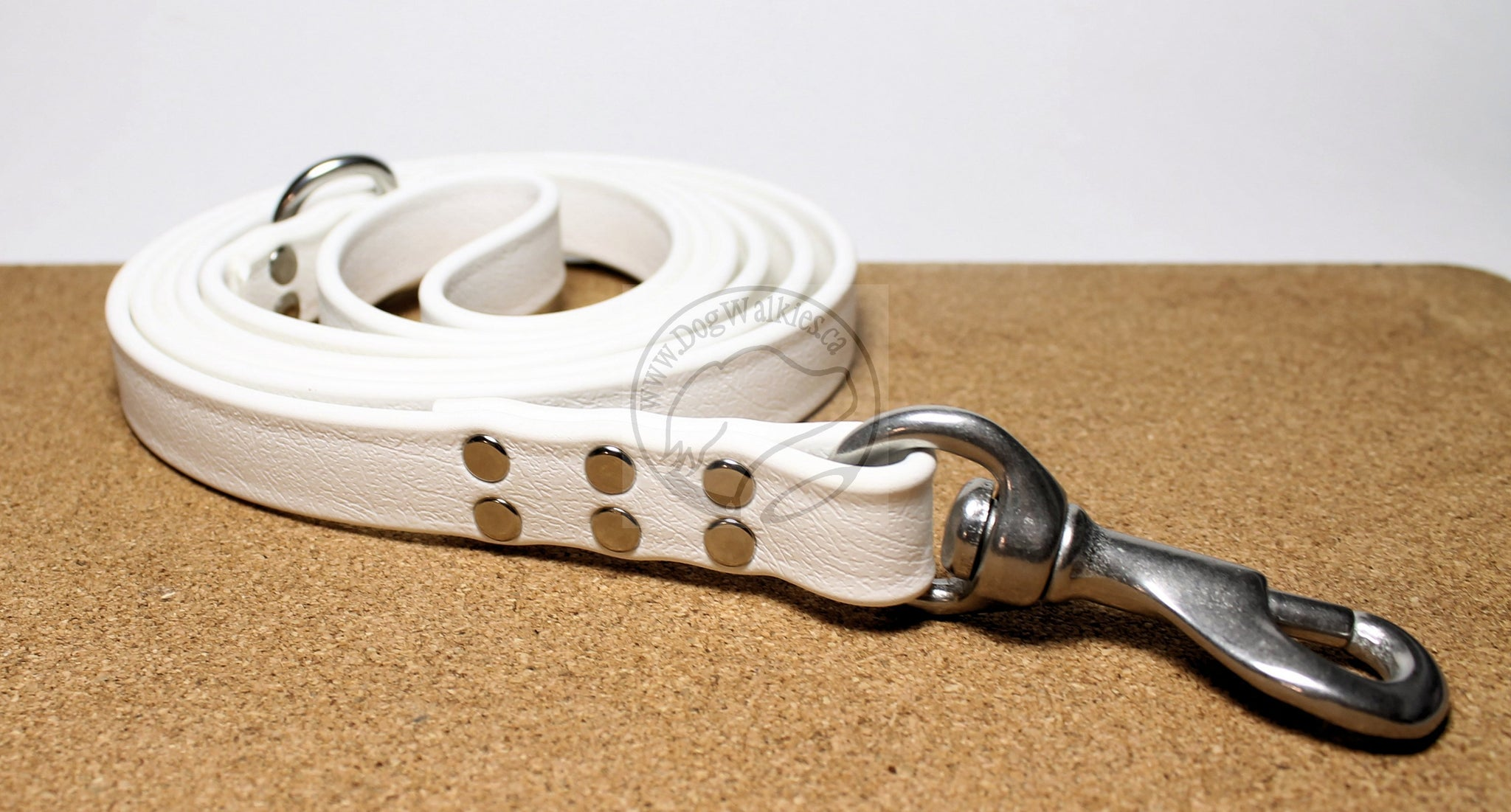 Snow White Biothane Large Dog Leash