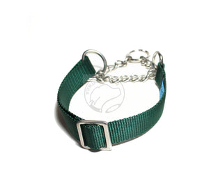 "Stainless Steel Chain Martingale Dog Collar 1"" (25mm) wide; Simple - Elegant - Strong"