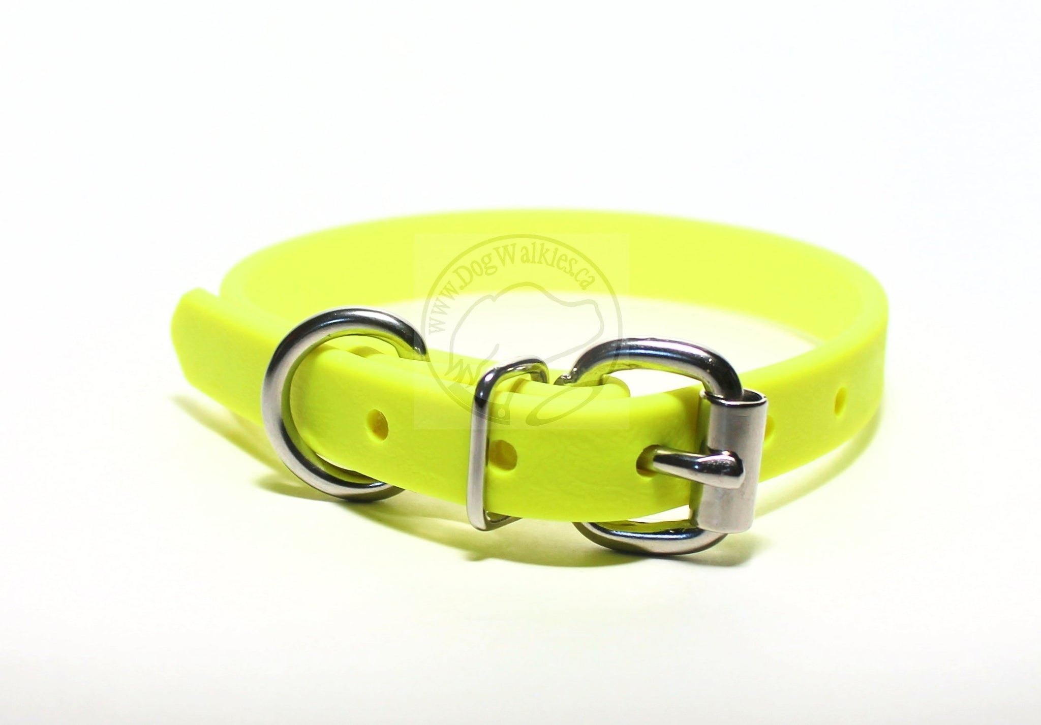 "Neon Yellow Biothane Dog Collar - 5/8""(16mm) wide"