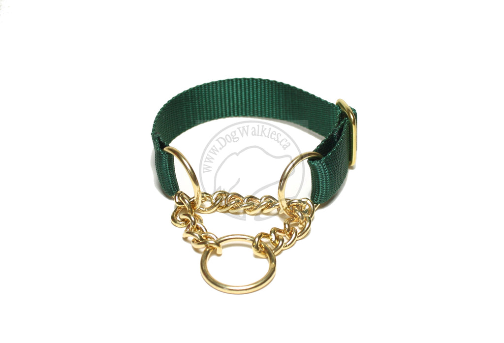 "Solid Brass Chain Martingale Dog Collar 1"" (25mm) wide; Simple - Elegant - Strong"