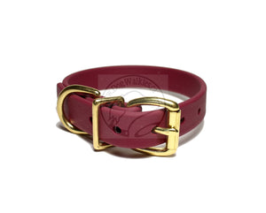 "Wine Merlot Biothane Dog Collar - 3/4"" (19mm) wide"