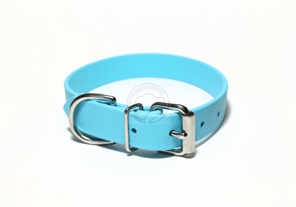 Frozen Blue Biothane Dog Collar - 1 inch (25mm) wide
