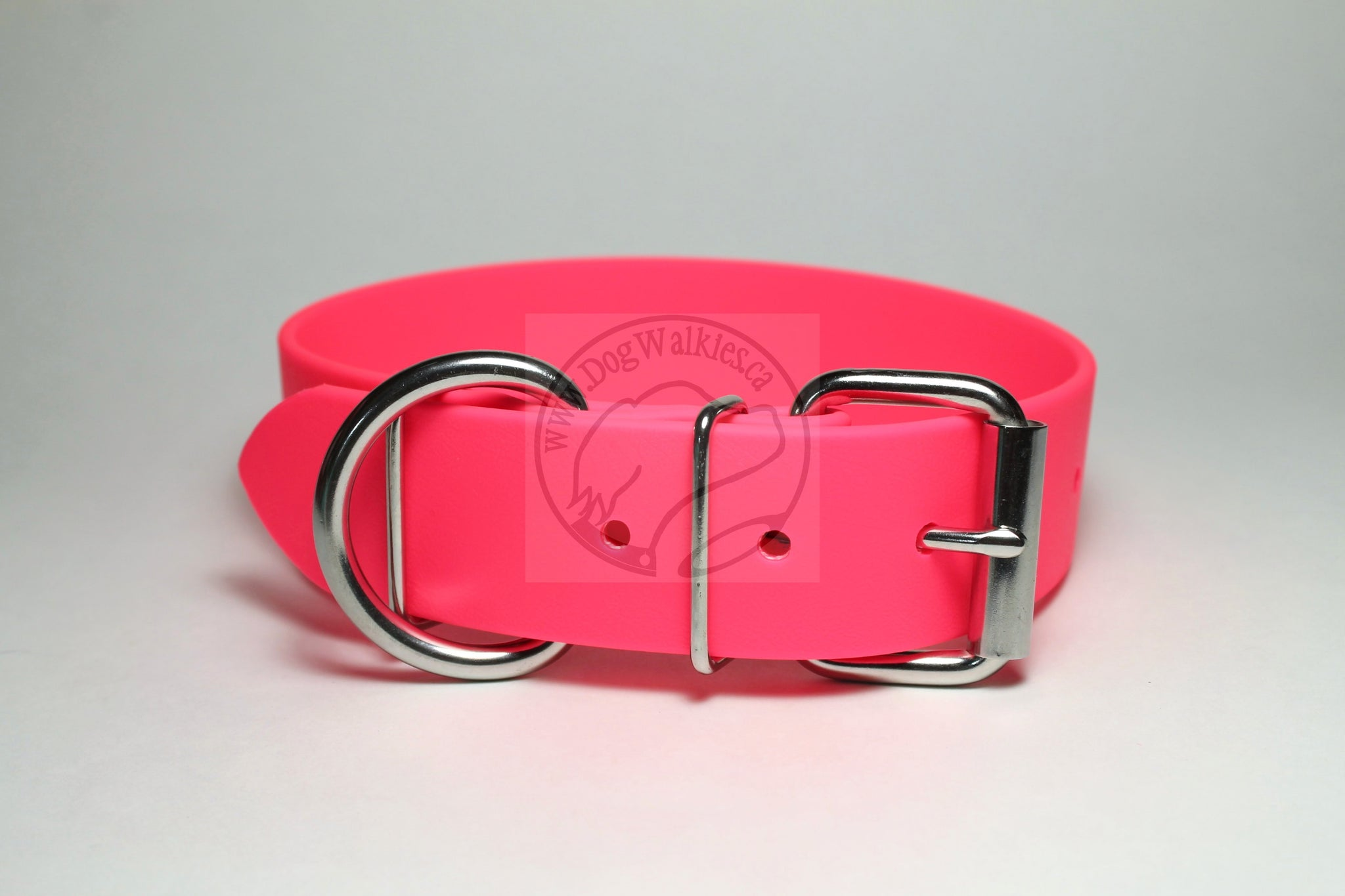 Neon Pink Biothane Dog Collar - Extra Wide - 1.5 inch (38mm) wide