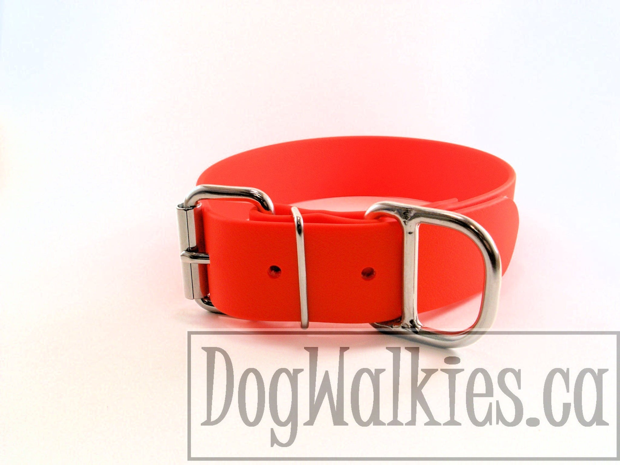 Neon Blaze Orange Biothane Dog Collar - Extra Wide - 1.5 inch (38mm) wide