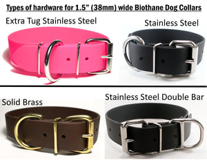 Dark Chocolate Brown Biothane Dog Collar - Extra Wide - 1.5 inch (38mm) wide