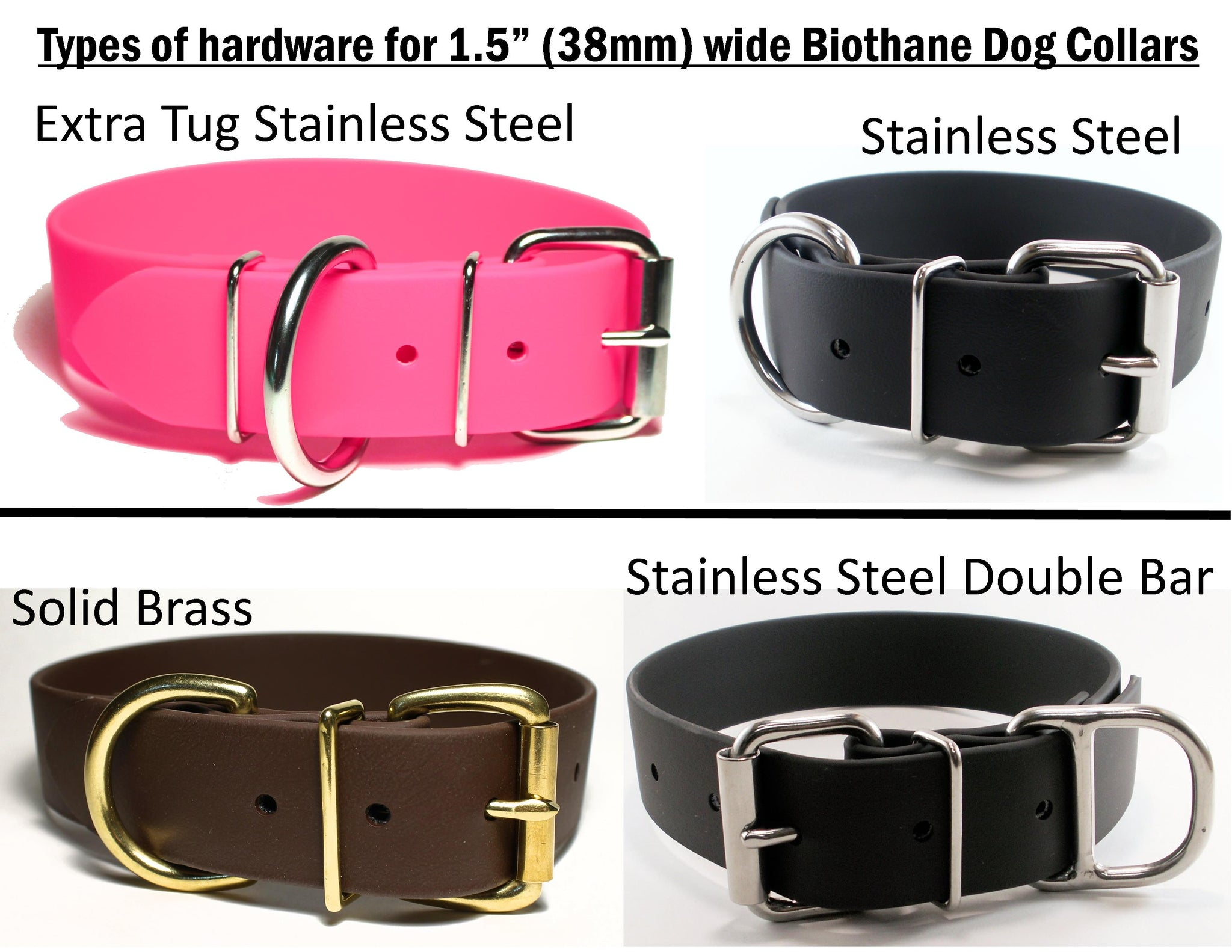 Snow White Biothane Dog Collar - Extra Wide - 1.5 inch (38mm) wide