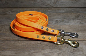 Bright Pumpkin Orange Biothane Dog Leash
