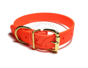 Neon Blaze Orange Biothane Dog Collar - 1 inch (25mm) wide
