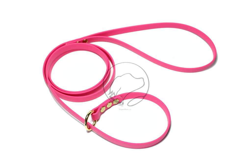 "English Slip Lead - Solid Brass - Waterproof Leash in Genuine Biothane - 12mm (1/2"") width"