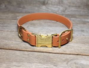 "Biothane Side Release Dog Collar - Gold tone Hardware -  1"" (25mm) wide"