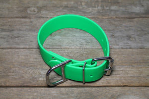 Neon Apple Green Biothane Dog Collar - Extra Wide - 1.5 inch (38mm) wide