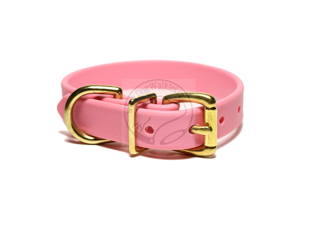 "Bubblegum Pink Biothane Dog Collar - 3/4"" (19mm) wide"