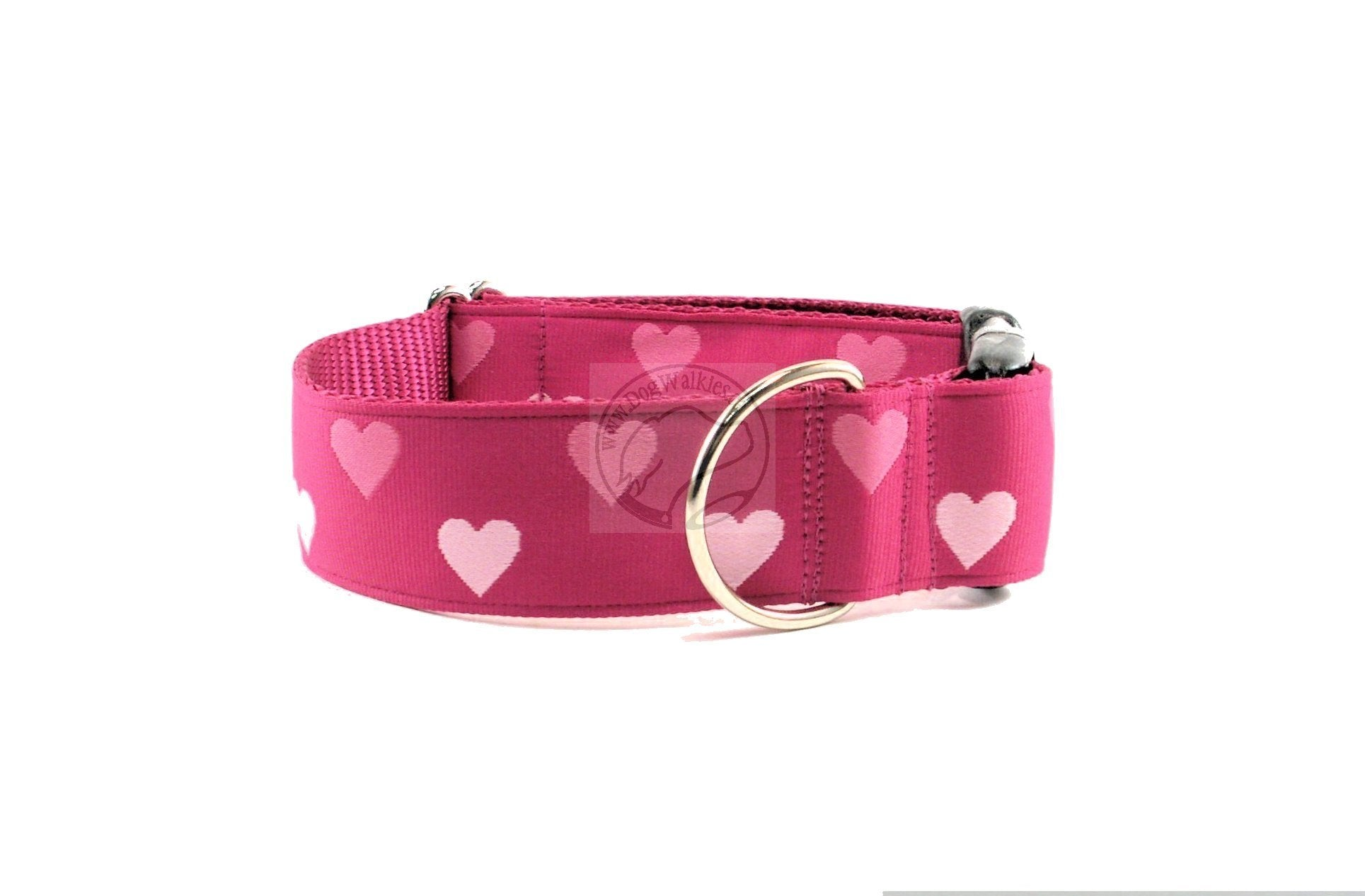 Big Valentine Hearts - wide nylon dog collar