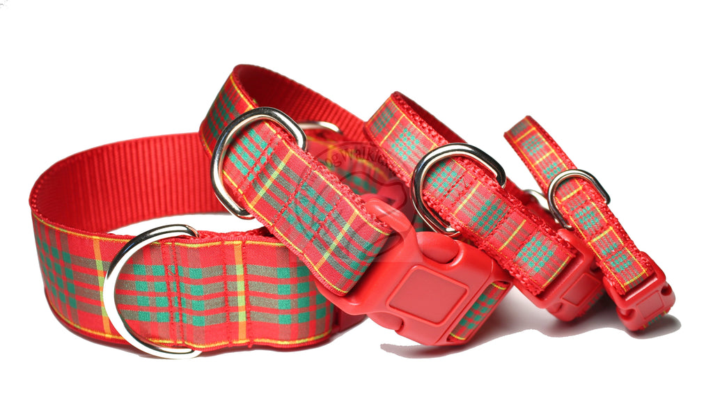 Red Cameron clan tartan - dog collar