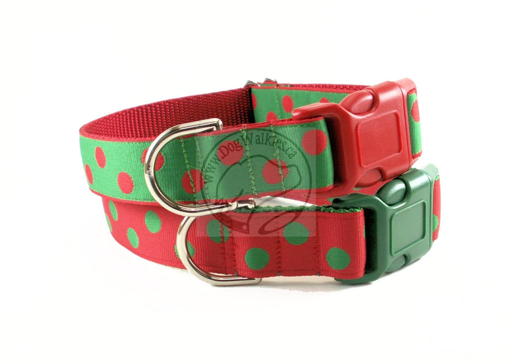 Red and Green Elf Dots - dog collar