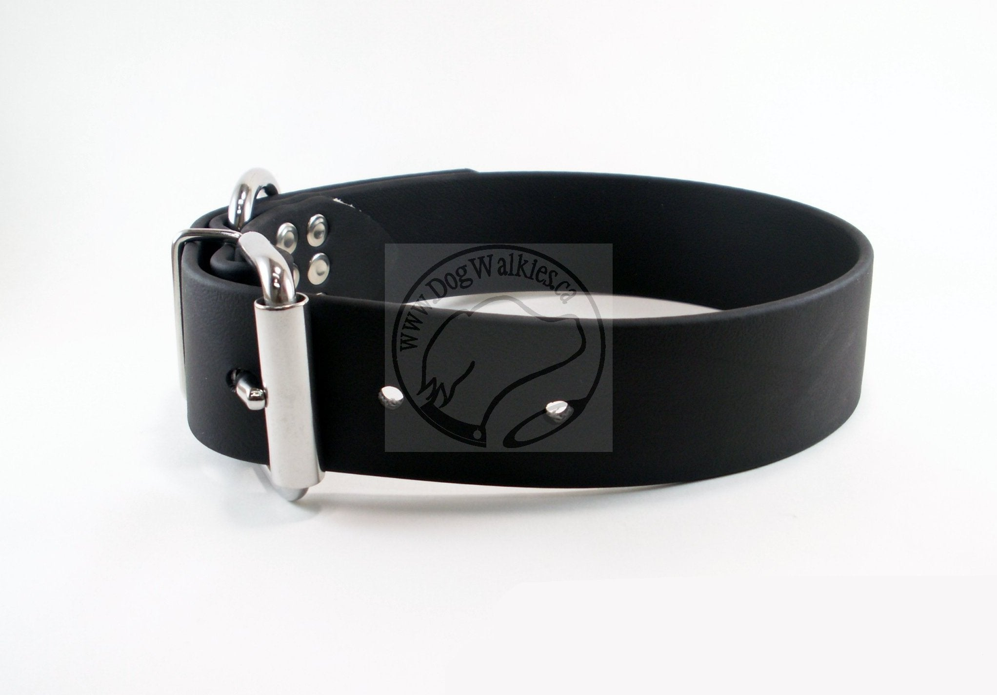 Jet Black Biothane Dog Collar - Extra Wide - 1.5 inch (38mm) wide