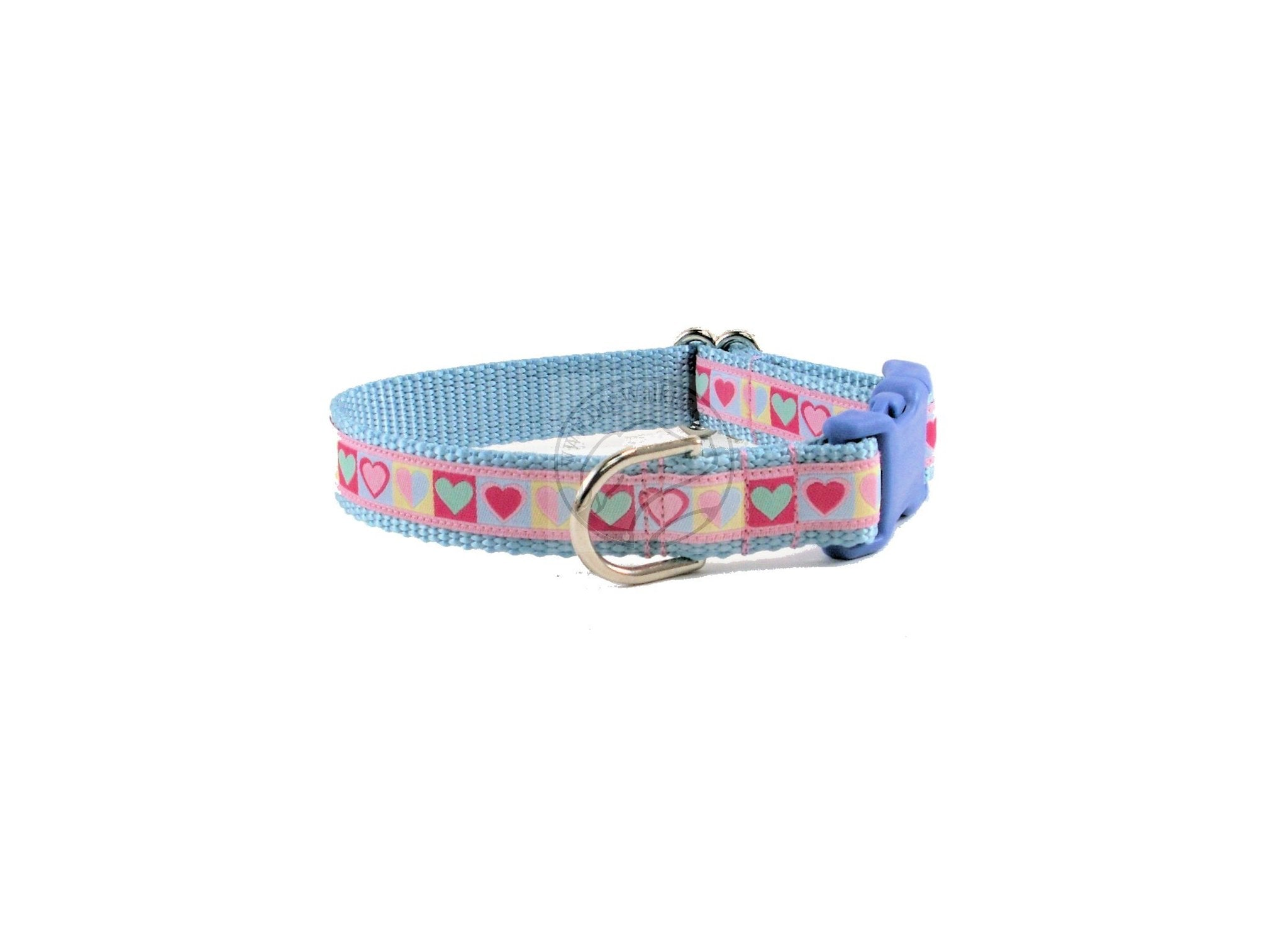 Blue Valentine Hearts Dog Collar - Valentine dog collar