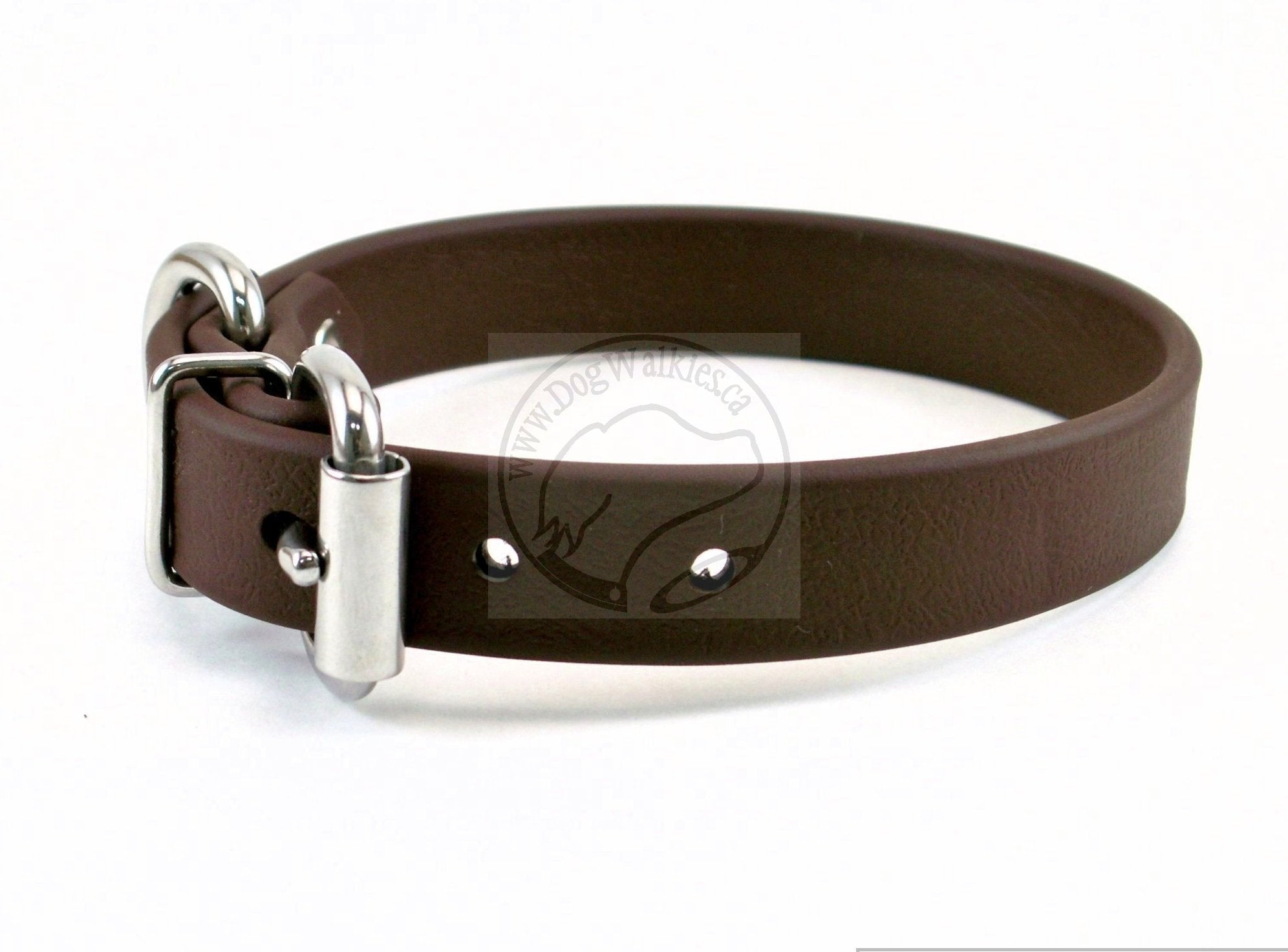 "Dark Chocolate Brown Biothane Dog Collar - 3/4"" (19mm) wide"