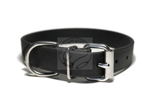 Jet Black Biothane Dog Collar - 1 inch (25mm) wide