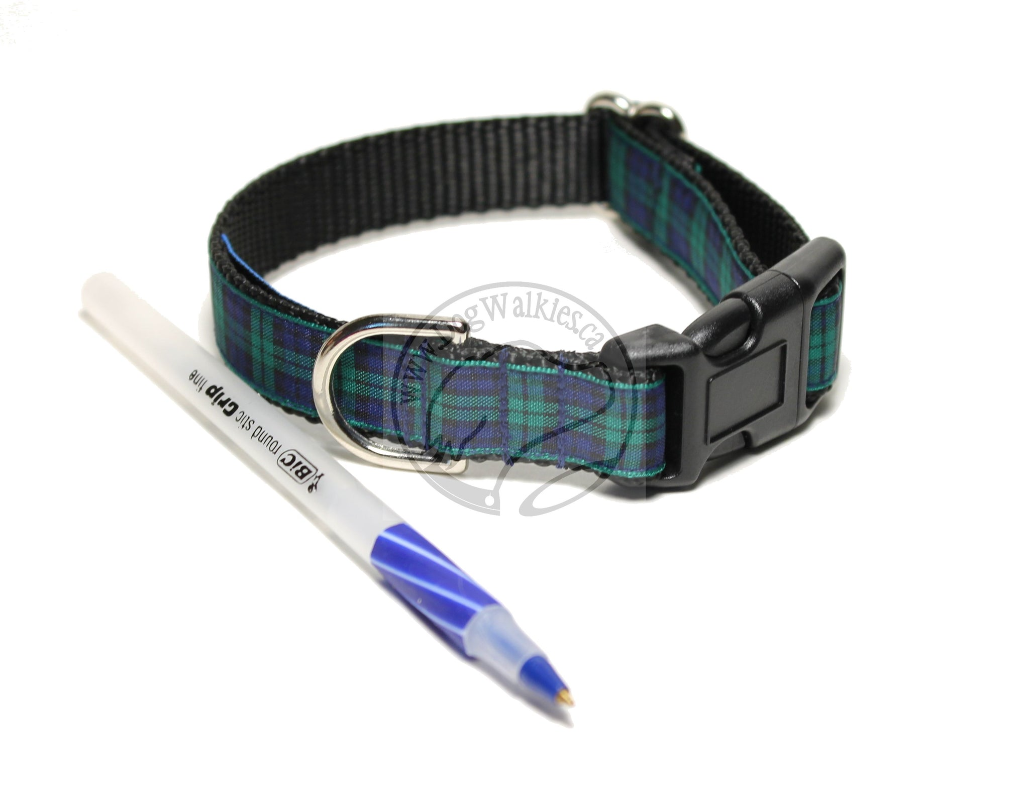 Blackwatch Green Edge tartan - dog collar