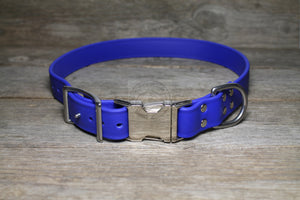 "Biothane Side Release Dog Collar - Silver tone Hardware -  1"" (25mm) wide"