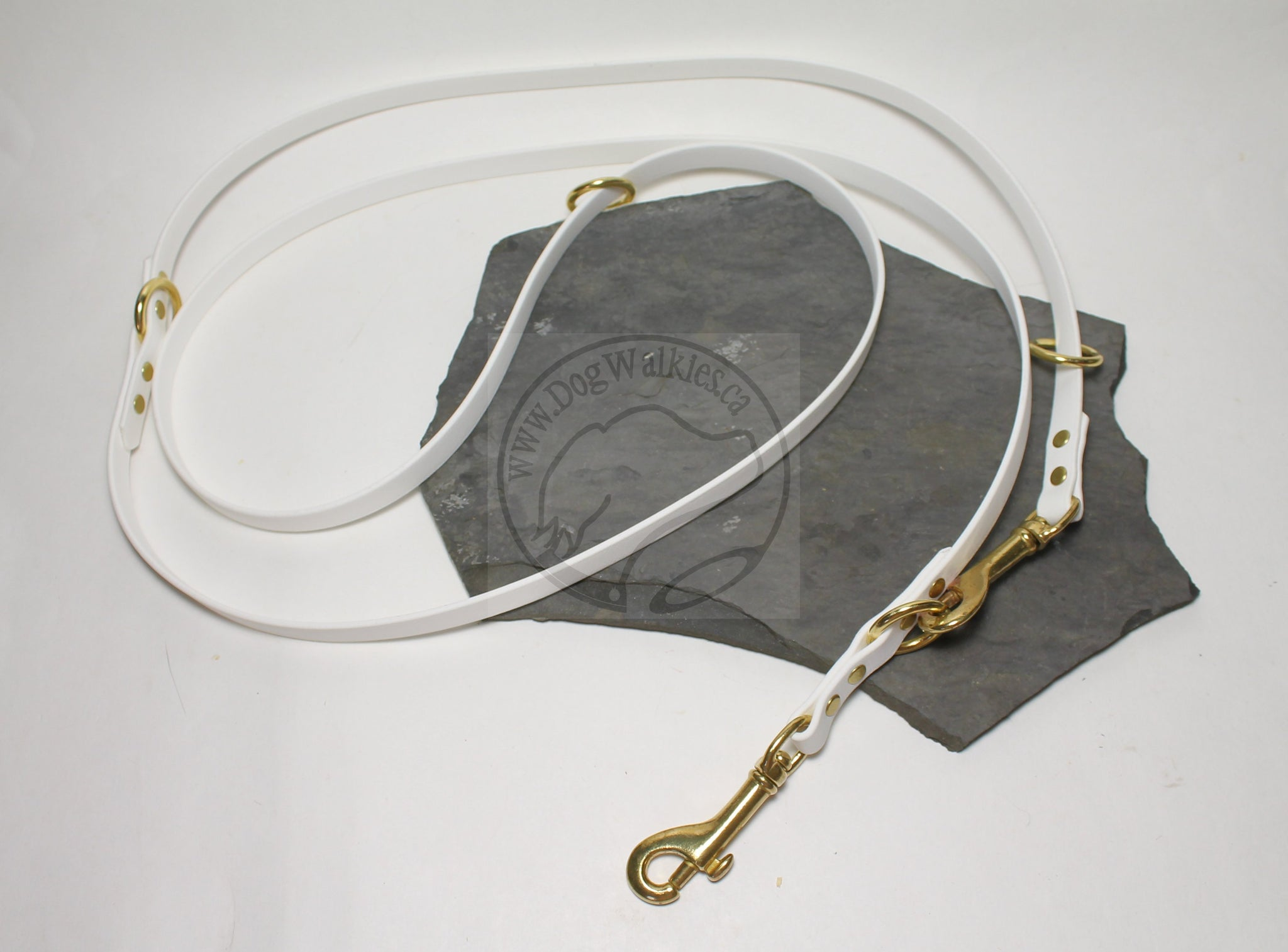 "Convertible Waterproof Leash in Genuine Biothane - Solid Brass Hardware - 12mm (1/2"") width"