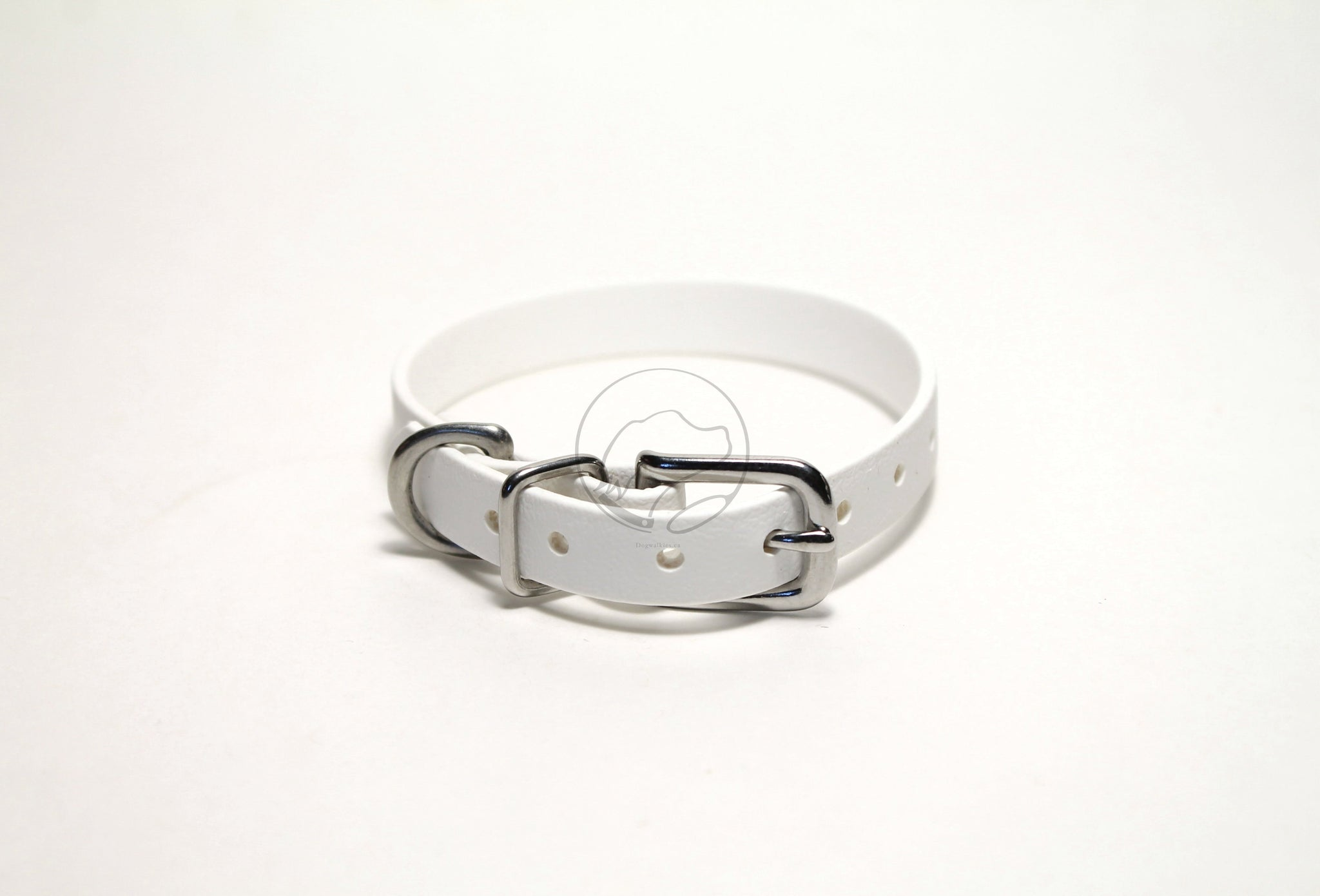 "Snow White Biothane Small Dog Collar - 1/2"" (12mm) wide"