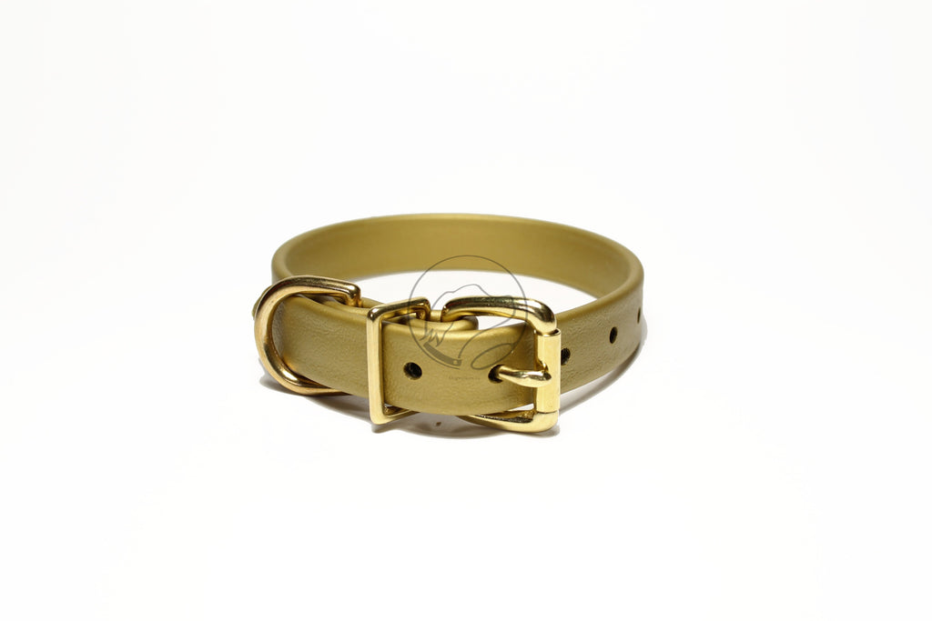 "*NEW* Gold Biothane Dog Collar - 3/4"" (19mm) wide"