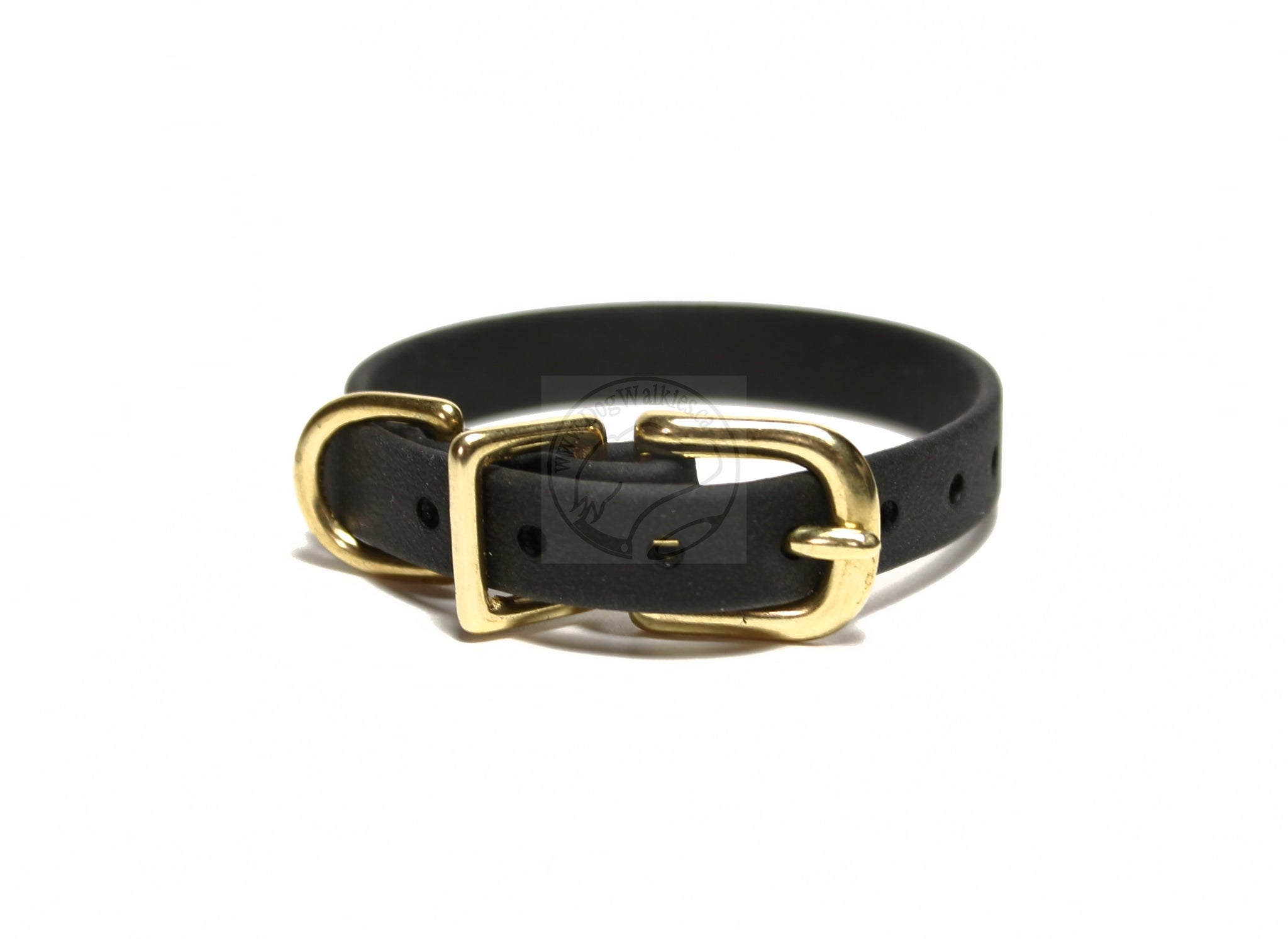 "Jet Black Biothane Small Dog Collar - 1/2"" (12mm) wide"