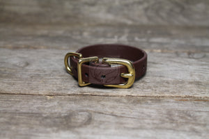 "Dark Chocolate Brown Biothane Small Dog Collar - 1/2"" (12mm) wide"
